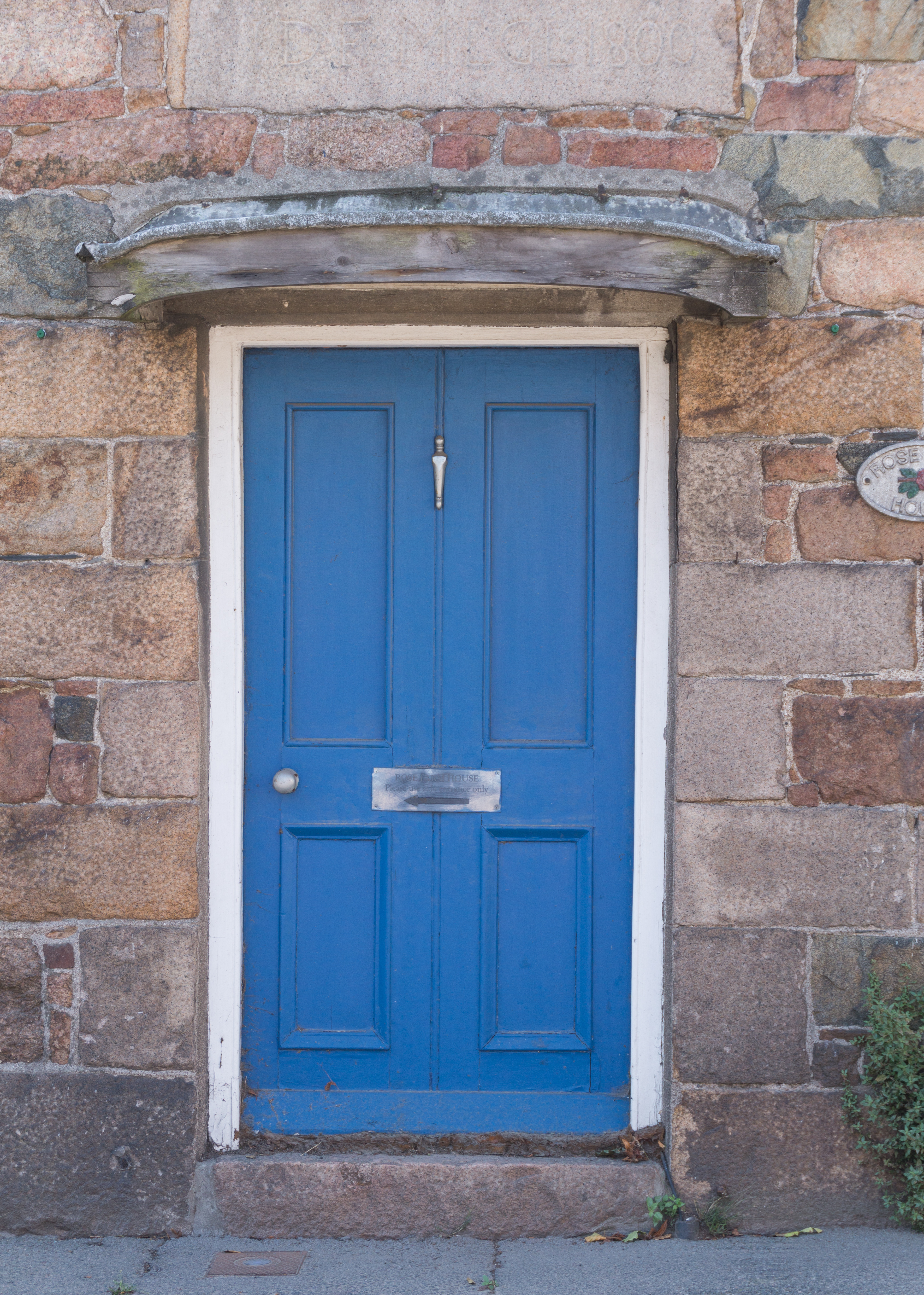 Blue Wooden Door With White Frame